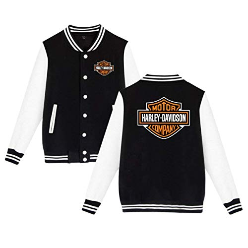 (BBABC Harley Davidson Logo Mens & Womens Vintage Hoodie Baseball Uniform Jacket Sport Coat Black)