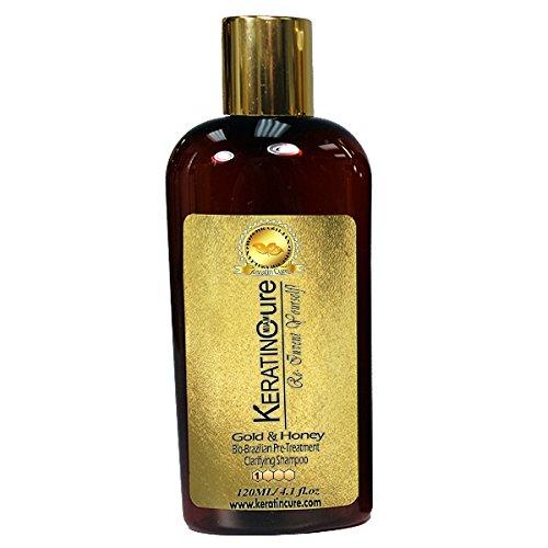 Keratin Cure Anti-Residue Deep Cleaning Clarifying Shampoo Gold & Honey Bio-Brazilian 120ml / 5 fl oz
