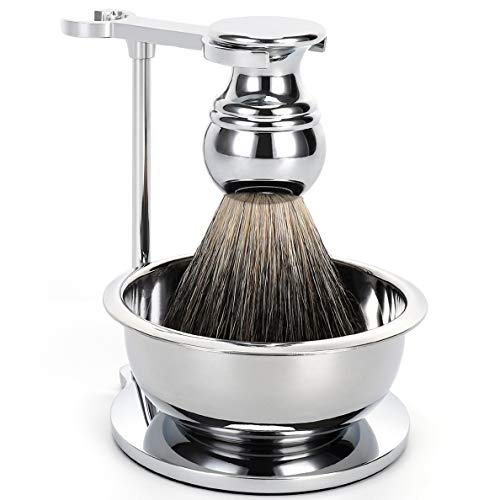 SANWA Deluxe Shave Stand Razor Brush Holder and Shaving Soap Bowl with High end silvertip badger hair shaving brush(Silver) ()