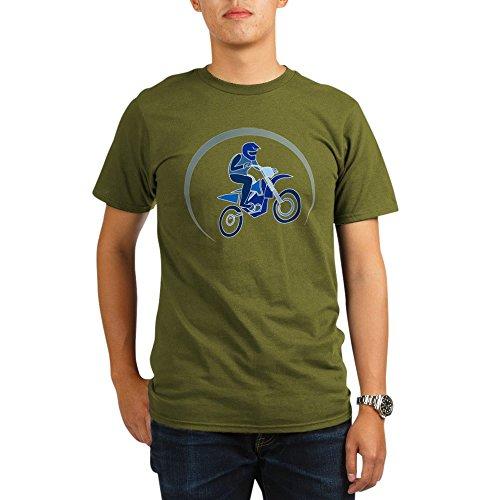 Truly Teague Organic Men's T-Shirt Dark Motocross MX Flying Dirt Bike in Blue - Olive, Large