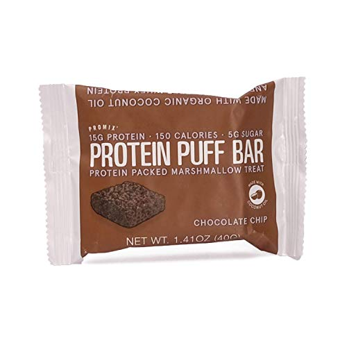 Promix Whey Protein Isolate Puff Bar, Chocolate Chip, 12 Count, 16.9oz | 15g Protein, 150 Calories each|Low Carb Healthy Snack with Egg Whites | All Natural, Grass Fed,Gluten Free, Low Sugar, Soy Free