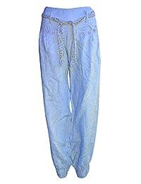 Womens Alibaba Harem Cuffed Floral Linen Trouser Pants