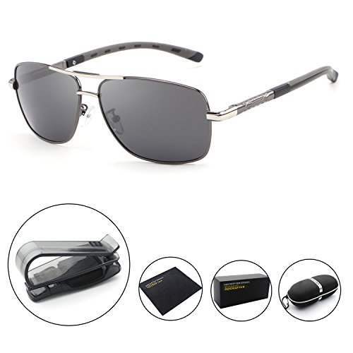 HDCRAFTER Polarized Sunglasses for Men UV400 Protection Lenses Metal - Glasses Face Big