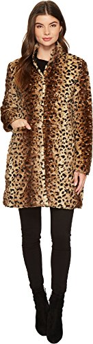 Via Spiga Reverse Faux Fur Printed Coat Large - Leopard Faux Fur Coat