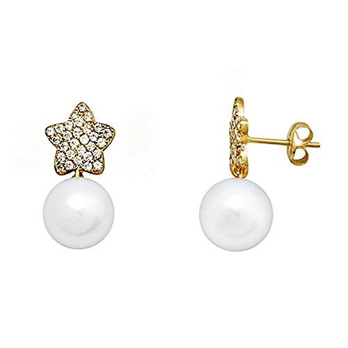 Boucled'oreille zircons longue perle de culture 18k étoile d'or [AA6034]