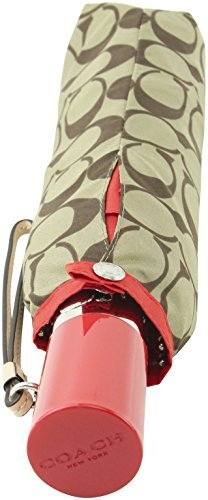 Coach Women's Signature SV Khaki Poppy Umbrella, Style F63364