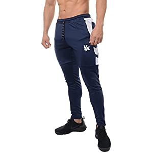 YoungLA Track Pants for Men Workout Athletic Gym Joggers Lightweight Training Sweatpants Tapered Fit 205 Navy White Medium