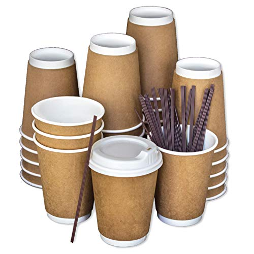 Disposable Coffee Cups To Go with Lids, Stirrers, and Integrated Sleeves | [100 Pack - 12 Ounce] | Recyclable Paper | Travel Cups - Living Balance -