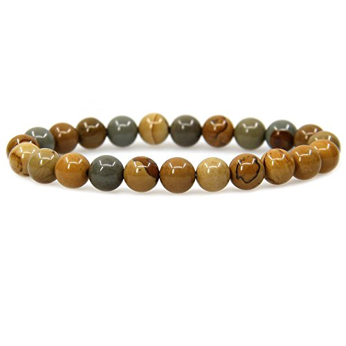 Natural Owyhee Picture Jasper Gemstone 8mm Round Beads Stretch Bracelet 7
