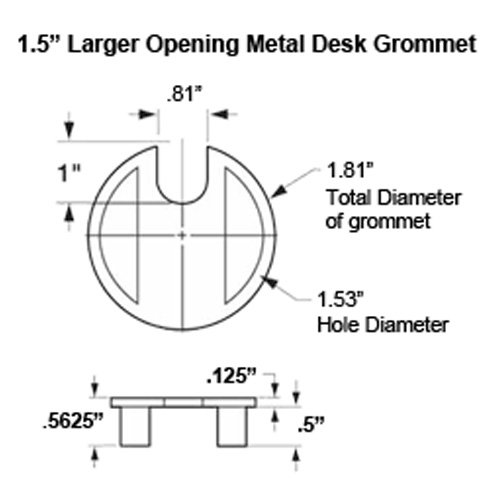 1.57'' (40mm) Metal Desk Grommet | Brushed Nickel (Larger Opening) - (3 Pack)