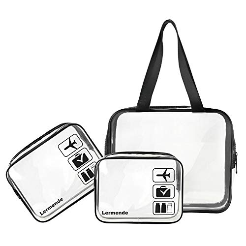 3pcs Lermende TSA Approved Clear Toiletry Bag Set 3-1-1 Travel Cosmetic Pouch Leakproof Luggage Makeup Tote Bags in 2 Size - Black