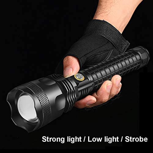 YATONG 3688 Lumens LED Zoom Flashlight, Rechargeable Torch, Waterproof, Three Modes (26650 Battery Included)
