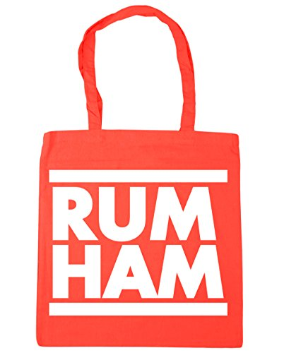 HippoWarehouse Rum Ham (Ron Jamón) Bolso de Playa Bolsa Compra Con Asas para gimnasio 42cm x 38cm 10 litros capacidad Coral