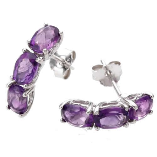 3 Stone 1.80 CT Amethyst Earrings Oval Shape .925 Sterling Silver