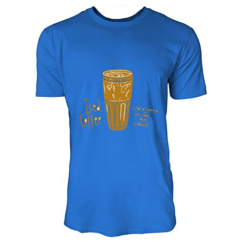 SINUS ART® Iced Coffee Grafik Print Herren T-Shirts in Blau Fun Shirt mit tollen Aufdruck