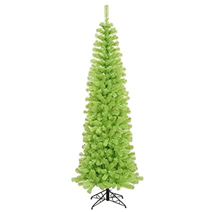 vickerman pre lit chartreuse green artificial pencil christmas tree with green lights 12 - Pre Lit Pencil Christmas Tree