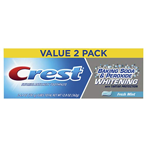 (Crest Baking Soda & Peroxide Whitening w/Tartar Protection Fresh Mint Toothpaste, 6.4oz (181g), 2count (Pack of 3))