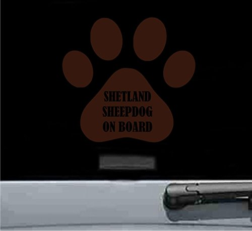 Shetland sheepdog on board Vinyl Decal Sticker (CHOCOLATE BROWN)