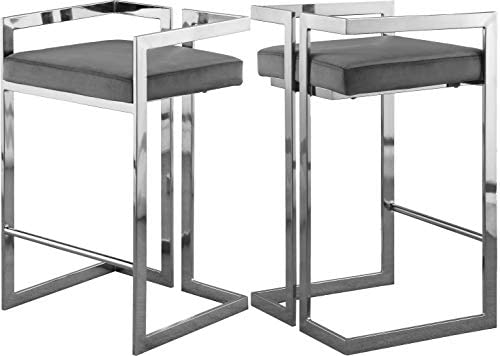 "Meridian Furniture Ezra Collection Modern | Contemporary Upholstered Counter Height Stool with Durable Steel Base, Grey Velvet, 19"" W x 17.5"" D x 31"" H"
