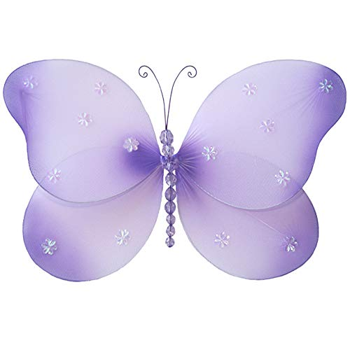 Hanging Butterfly Small 7 Purple Lavender Sparkle Nylon Mesh Butterflies Decorations Decorate Baby Nursery Bedroom Girls Room Ceiling Wall Decor Wedding Birthday Party Baby Shower Bathroom 3D Art DIY