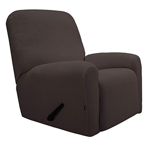Easy-Going Recliner Stretch Sofa Slipcover Sofa Cover 4-Pieces Furniture Protector Couch Soft with Elastic Bottom Kids,Polyester Spandex Jacquard Fabric Small Checks(Recliner,Chocolate)