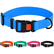"""CollarDirect Adjustable Dog Collar Colorful Waterproof Pet Collars for Small Medium Large Dogs Puppy Pink Black Blue Mint Green Orange (Neck Fit 12""""-16"""", Blue)"""