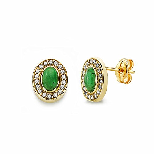 Boucled'oreille 18k 9mm Greenstone d'or. zircons [AA2342]