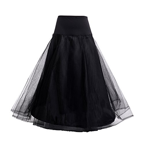 AW Bridal Petticoat Skirt Black Floor Length A Line Slip Crinoline Underskirt, (Floor Length A-line Skirt)