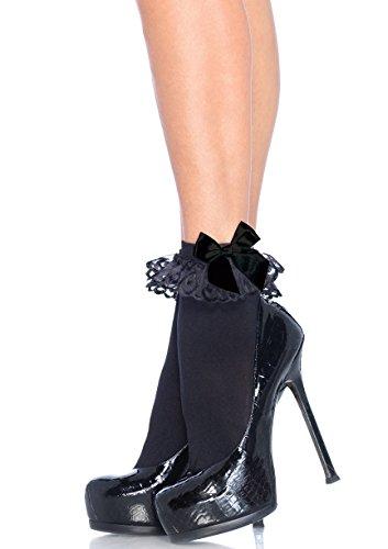 (Leg Avenue Womens Ruffle and Satin Bow Anklet Socks)