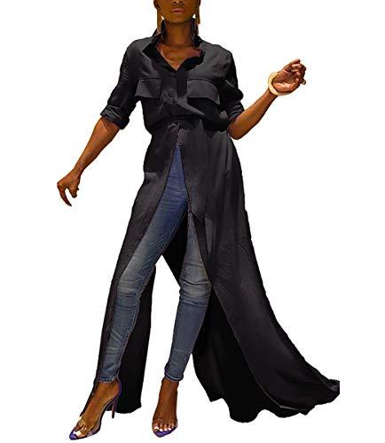 Women's Casual Basic Blouse Short Sleeve Lapel Belt Summer High Slit Button Down Shirt Top Maxi Dress Black#3 XL