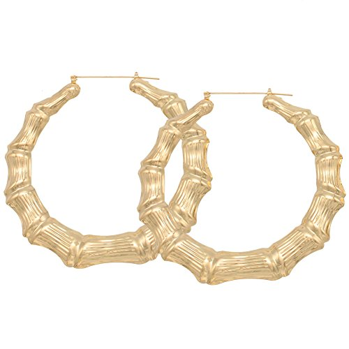 HONB Gold Tone Hollow Casting Round Bamboo Hoop Earrings, 2.5 Inches (18K ()
