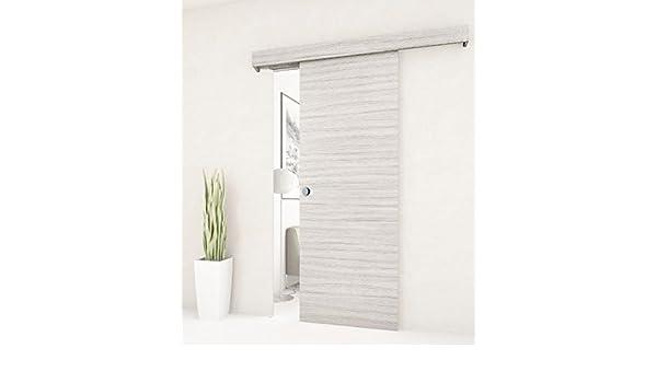 Puerta corredera exterior de pared realizada en madera blanca de palisandro. Riel y embellecedor incorporados: Amazon.es: Bricolaje y herramientas