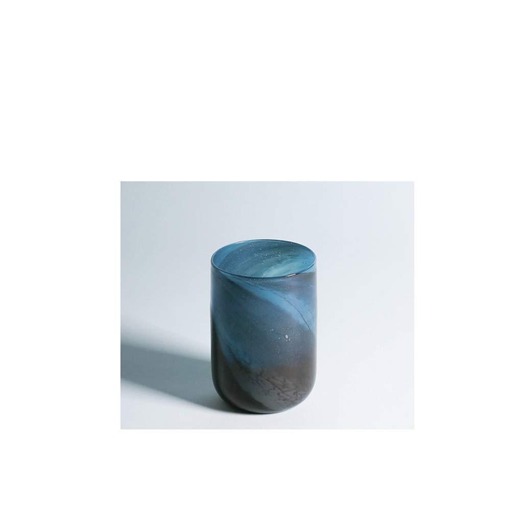HBJP 北欧スタイル肥厚グラデーションブラックブルーガラス花瓶装飾ステンドグラス花瓶 花瓶 (サイズ さいず : High 23.5CM) B07S16FMRP  High 23.5CM