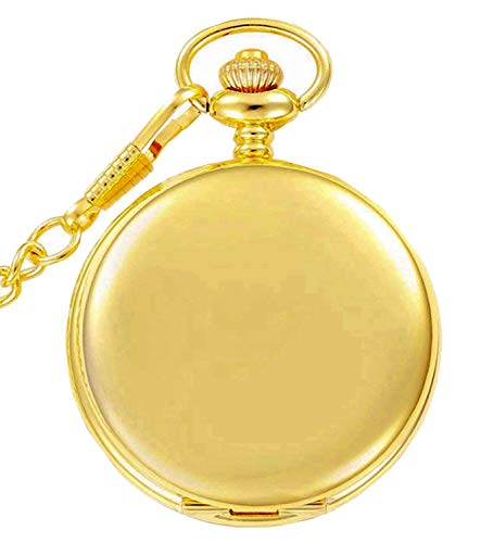 - Golden Classic Smooth Full Hunter Pocket Watch with Chain