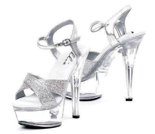 Ellie Shoes Women's 6 Inch Heel Glitter Sandal (Silver Glitter;8) ()