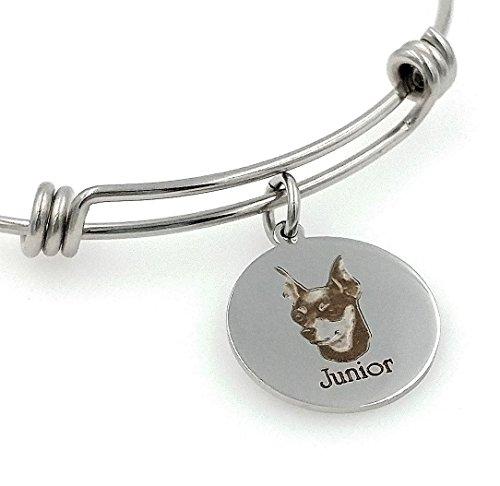Min Pin, Miniature Pinscher Bangle Bracelet-Personalized, Engraved, Expandable