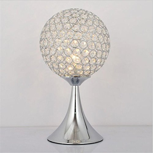 ATC Desk Lamp Crystal Circular Table Lighting Night Light Fixture with K9 Crystal and Chrome Finish Metal Base for Bedroom Living Room Study Room (Silver)