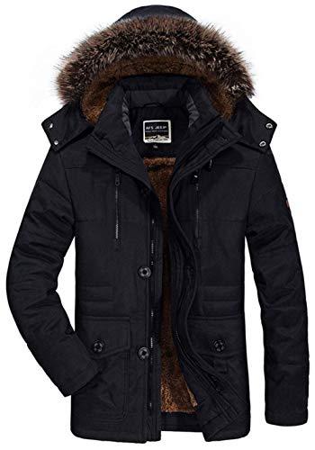 Tutine Mens schwarz Cappotto Giacca Parka Abbigliamento Uomini Con Kapuzenparka Invernale Calore 1 Cappuccio AAEwS7rq1