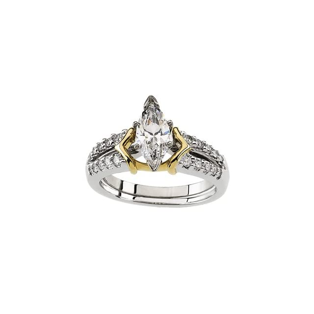 14K White Yellow Gold Two Tone Bridal Enhancer Diamond quality A4 (SI1 clarity G I color) Jewelry