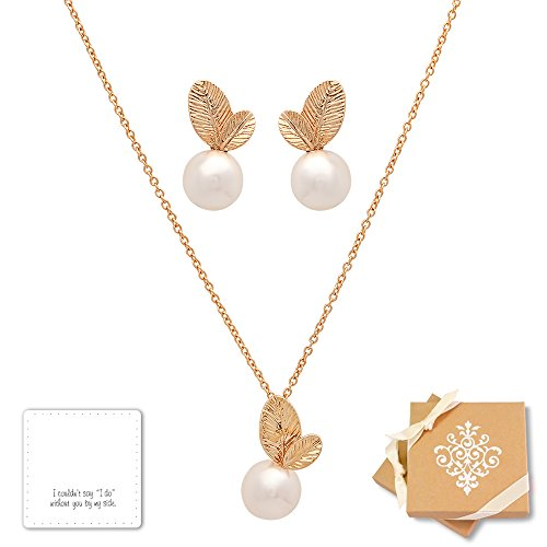 Pearl Set Lovely (Bridesmaid Jewelry Set - Lovely Simulated Pearl Necklace & Earrings Set, (16