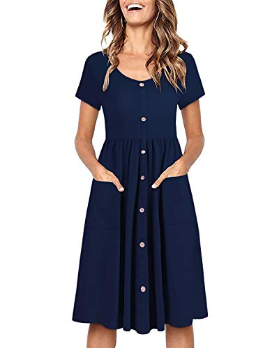 OUGES Women's Long Sleeve V Neck Button Down Midi Skater Dress with Pockets(Navy395,L)