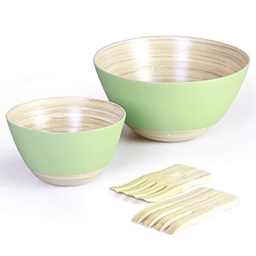 Handymake Bamboo Salad Bowl Set With Servers- Includes: 1 Extra Large Salad Mixing Bowl, 1 Medium Bowl, 2 Salad Hands - Ideal For Serving Salads, Pasta, Cereals, Porridge, Sauces - Mint Color