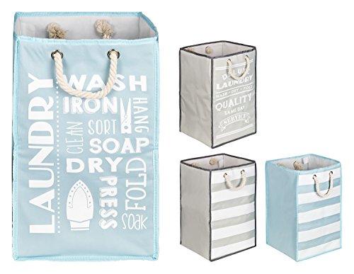 TOPP4u Wäschekorb in blau - weiß mit 45 L, 30x30x50 cm - 1 standfester, quadratischer Wäschesammler mit tollem Design, faltbarer Wäschesack bzw. Wäschetonne