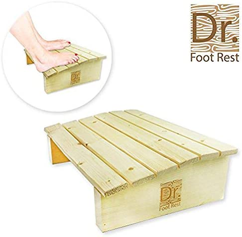 Dr. Foot Rest Wood Ergonomic Wood Foot Stool Under Desk Foot Rest with 17.7 Width for Office Home to Relieve Tendon Pains and Improve Blood Circulation