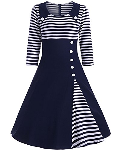 ZAFUL Women Vintage Short Sleeve Striped Midi Dress Button Pin Up Square Neck Cocktail Party Swing Dress (M, Navy Blue - One Shops Square In Dress