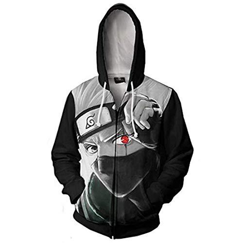 CHENMA Men Naruto Kakashi Long Sleeve Full-Zip Bomber Jacket Hooded Varsity Jacket (L/US M, Winter/Kakashi)