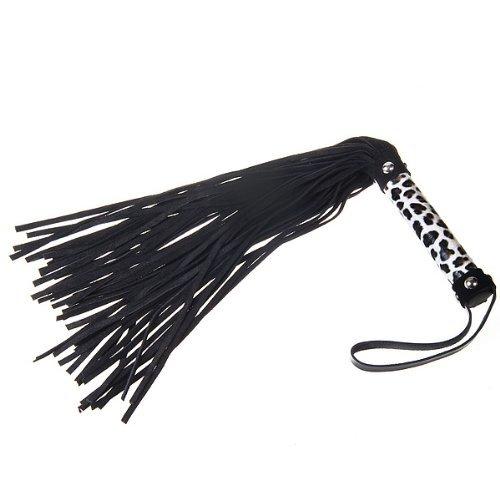 Bondage Fetish Soft Leather Whip 20'' J2091-1#D1(Black tail with Brown Black White Leopard design) by Sex Toys > Bondage Kit