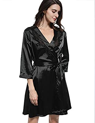 Mobisi Women's Black Satin Kimono Robe V Neck Half Sleeve Lace Trim Robes