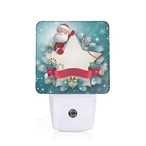 Colorful Plug in Night,Santa Claus Star Banner Snowflakes Ribbon and Candy Cane Tree Winter Season Theme,Auto Sensor LED Dusk to Dawn Night Light Plug in Indoor for Childs Adults