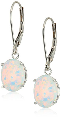 14k Earrings Stone Natural (14K Gold Oval Gemstone Dangle Leverback Earrings)